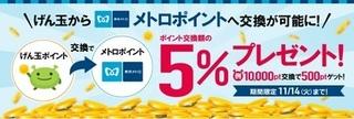 げん玉 メトロポイント 5%プレゼント 2017年11月.jpg