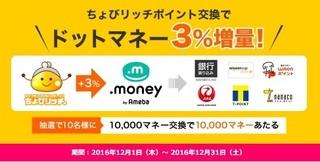 ちょびリッチ ドットマネー 3%増量 2016年12月.jpg